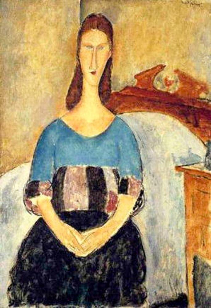 konfigurieren des Kunstdrucks in Wunschgröße Seated lady on bed von Modigliani, Amedeo