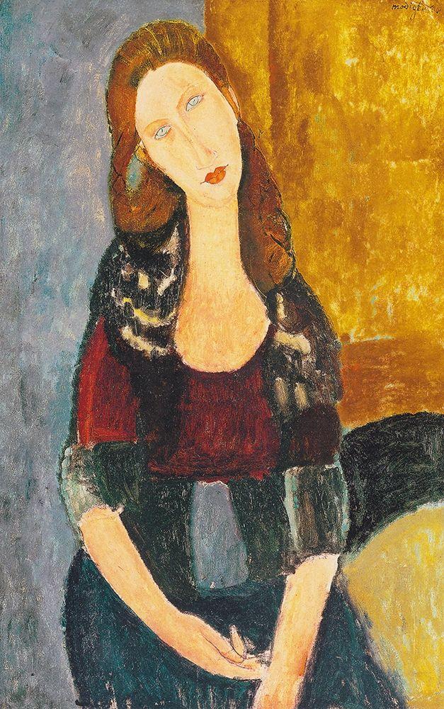 konfigurieren des Kunstdrucks in Wunschgröße Jeanne Hebuterne, sitzend von Modigliani, Amedeo