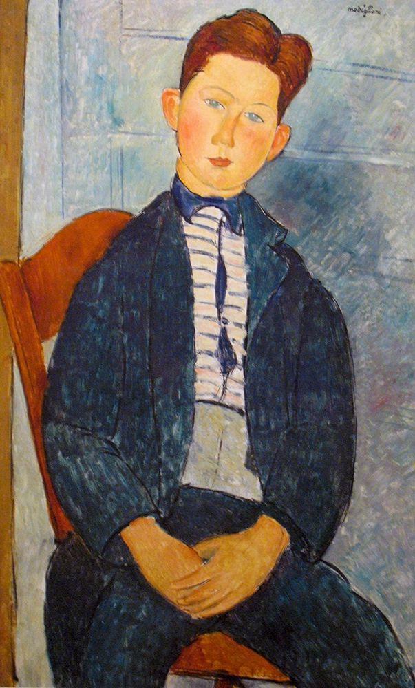 konfigurieren des Kunstdrucks in Wunschgröße Boy in a striped Sweater, 1918 von Modigliani, Amedeo