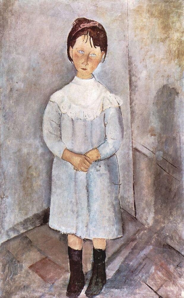 konfigurieren des Kunstdrucks in Wunschgröße Little Girl in Blue, 1918 von Modigliani, Amedeo