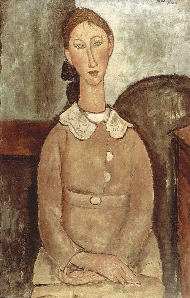 konfigurieren des Kunstdrucks in Wunschgröße Seated woman with lace collar von Modigliani, Amedeo