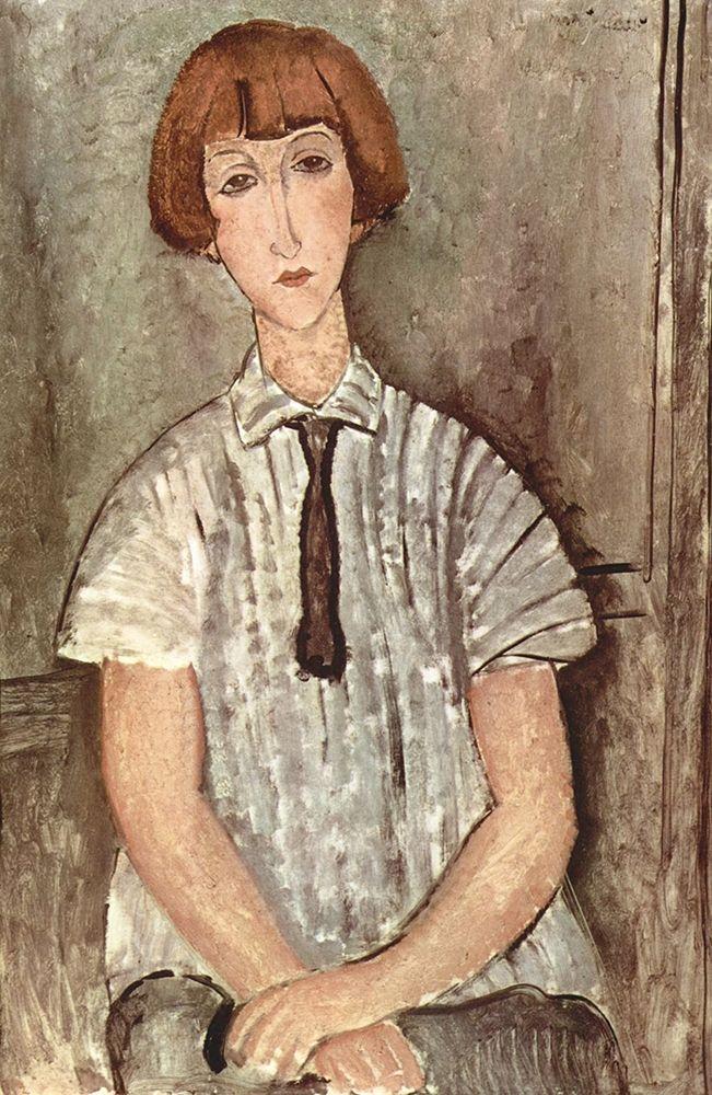 konfigurieren des Kunstdrucks in Wunschgröße Seated woman with tie von Modigliani, Amedeo