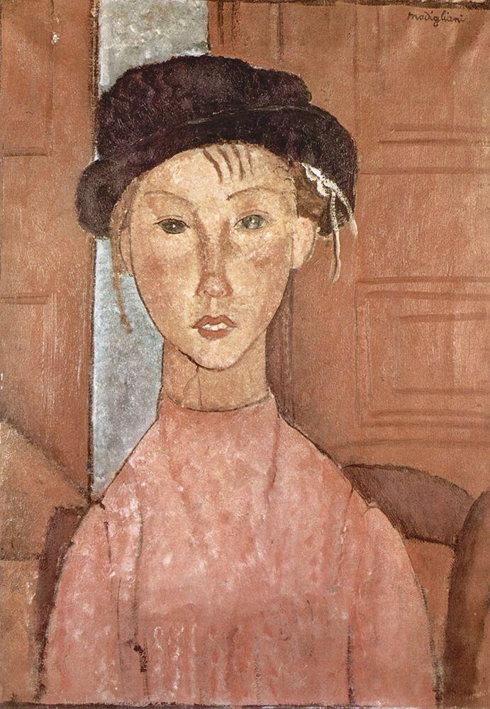 konfigurieren des Kunstdrucks in Wunschgröße Seated woman with hat von Modigliani, Amedeo