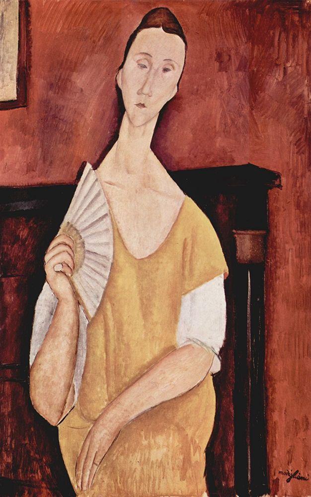 konfigurieren des Kunstdrucks in Wunschgröße Portrait of Lunia Czechowska with fan von Modigliani, Amedeo