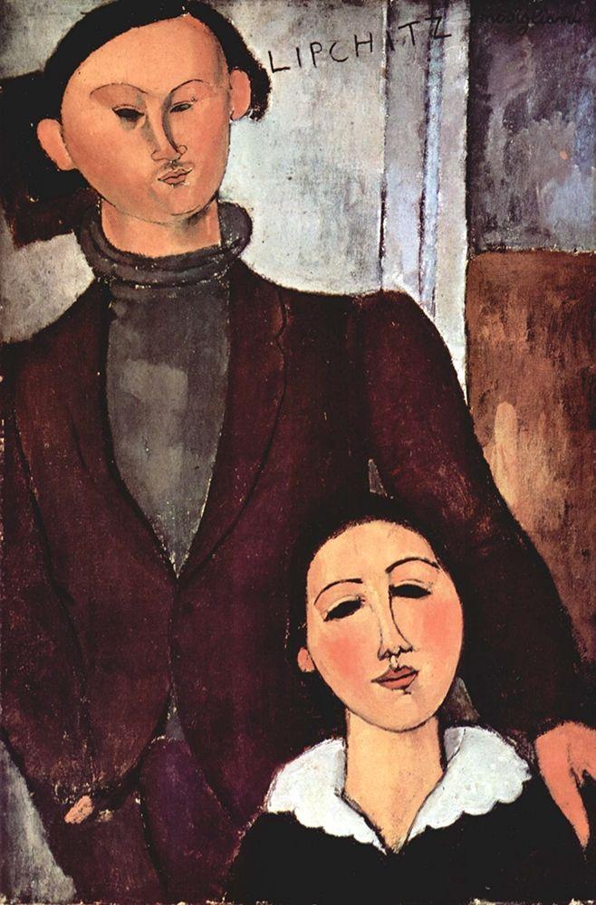 konfigurieren des Kunstdrucks in Wunschgröße Portrait of Jacques and Berthe Lipchitz, 1916 von Modigliani, Amedeo