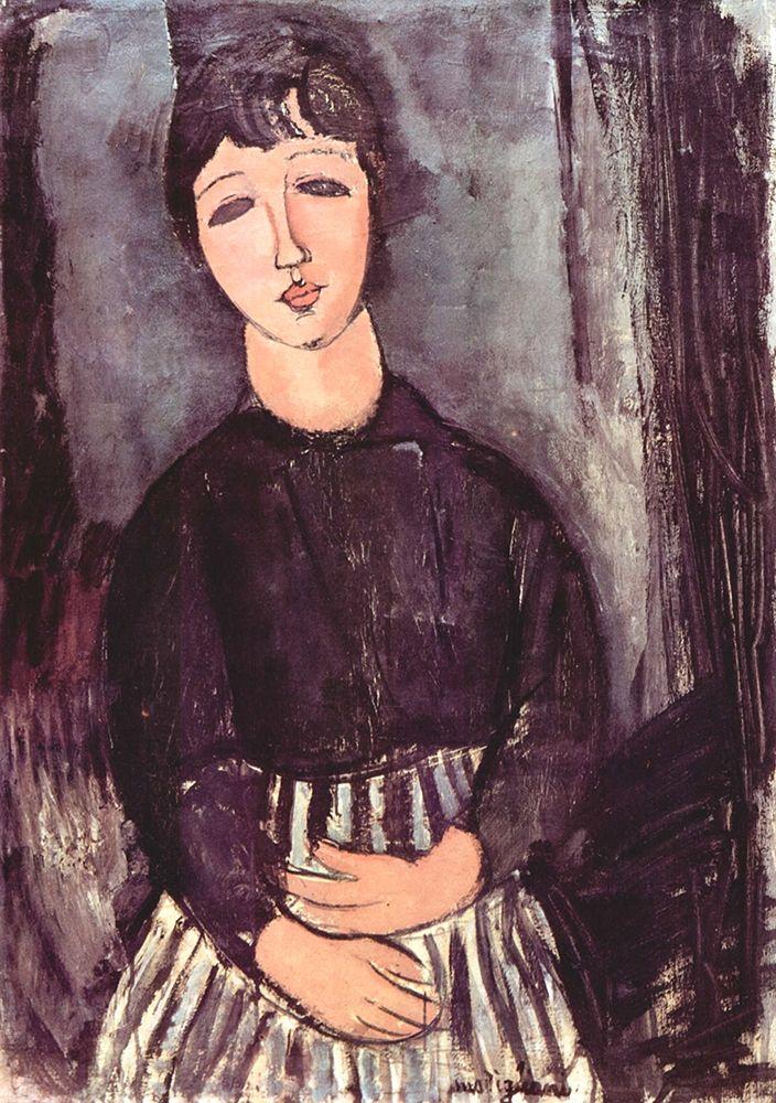 konfigurieren des Kunstdrucks in Wunschgröße Seated girl in striped skirt von Modigliani, Amedeo