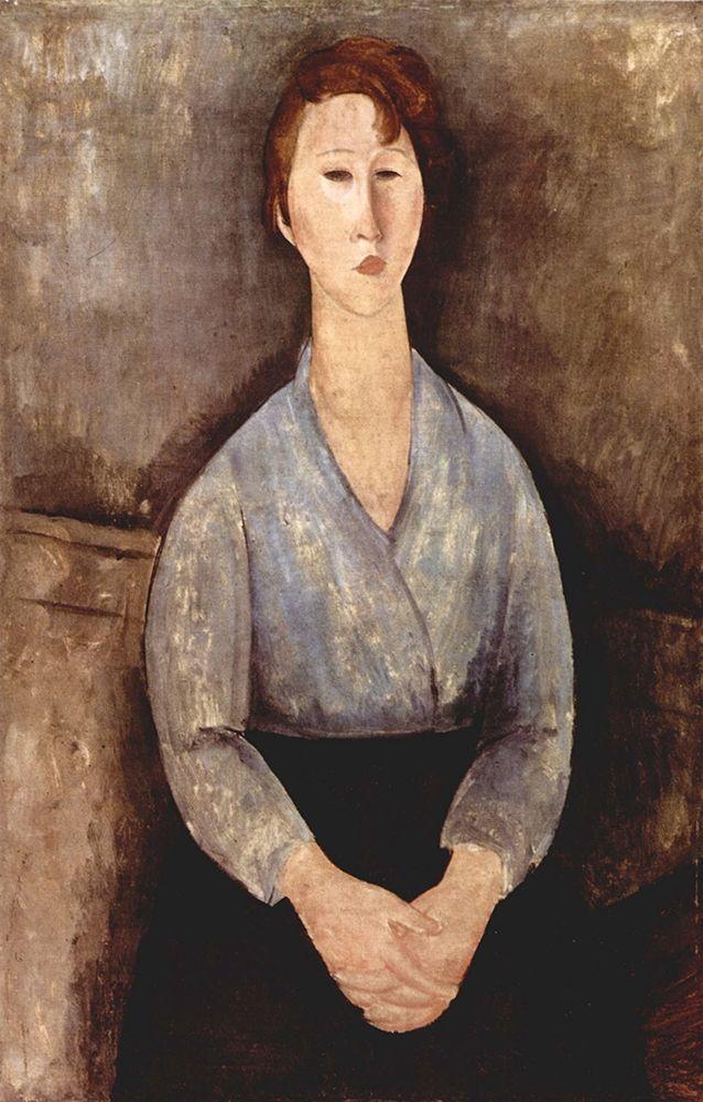 konfigurieren des Kunstdrucks in Wunschgröße Seated woman in grey shirt von Modigliani, Amedeo