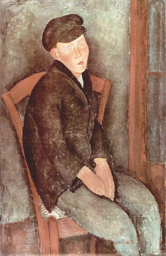 konfigurieren des Kunstdrucks in Wunschgröße Seated boy in hat von Modigliani, Amedeo