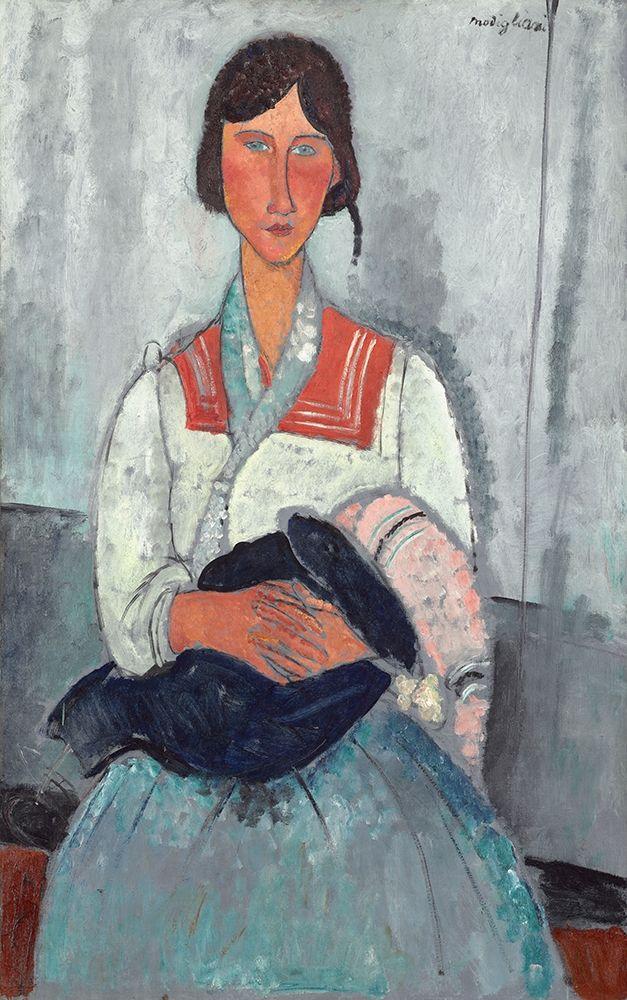 konfigurieren des Kunstdrucks in Wunschgröße Gypsy Woman with Baby (1919) von Modigliani, Amedeo