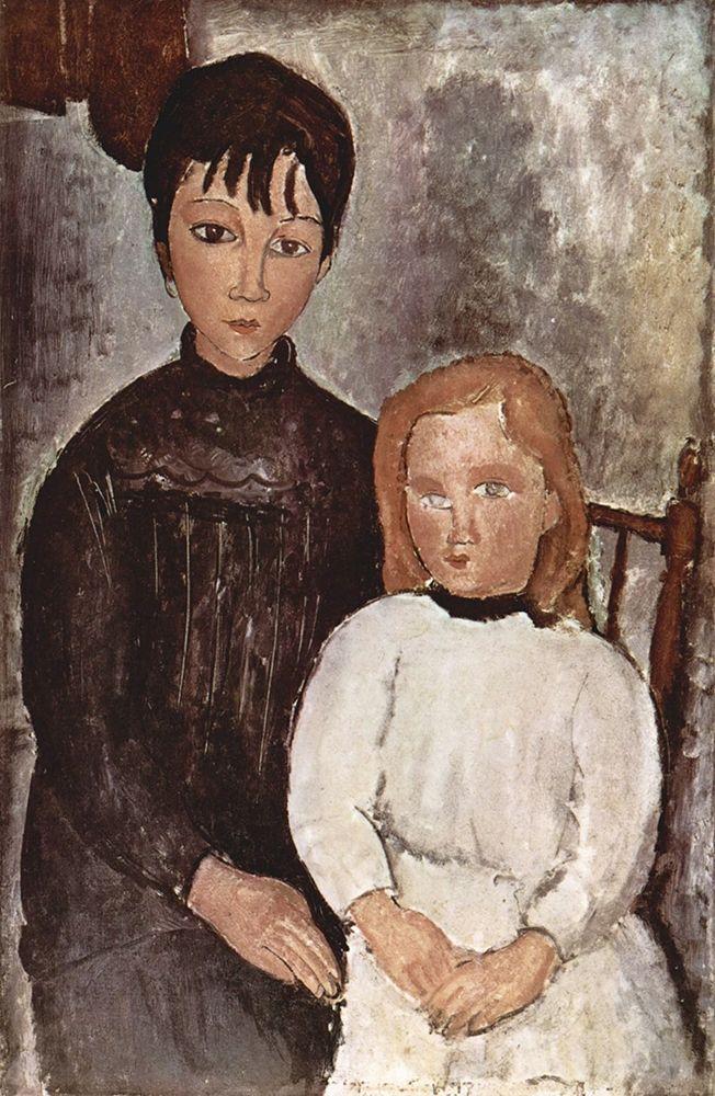 konfigurieren des Kunstdrucks in Wunschgröße Seated Children von Modigliani, Amedeo