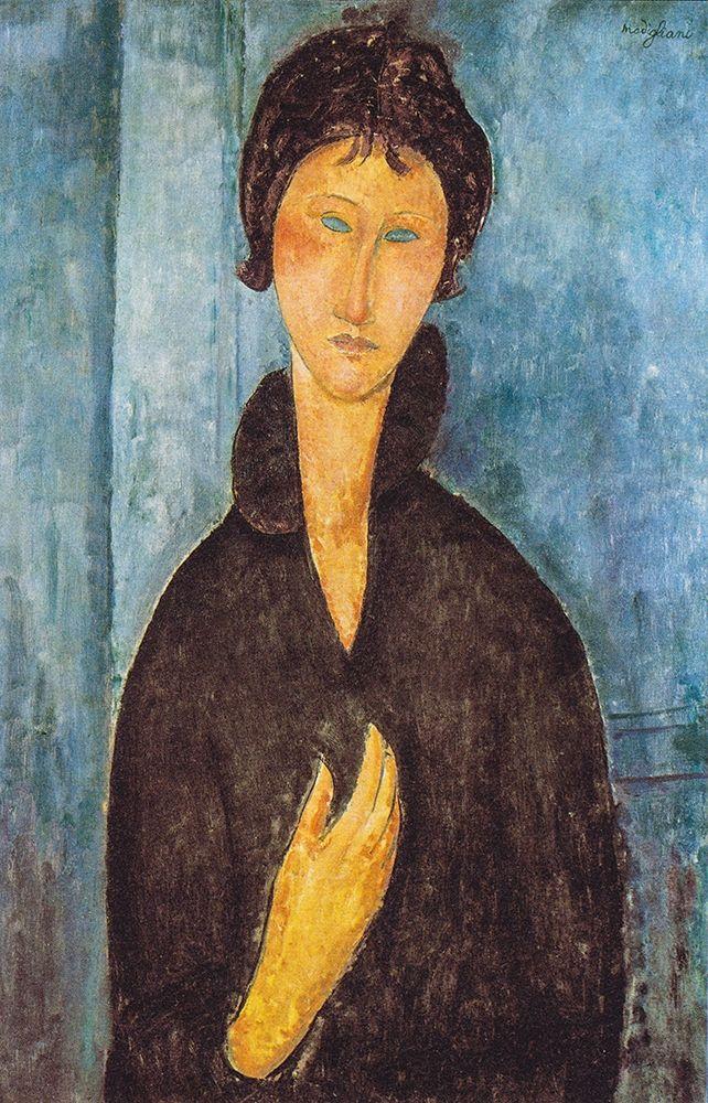 konfigurieren des Kunstdrucks in Wunschgröße Die Frau mit blauen Augen von Modigliani, Amedeo