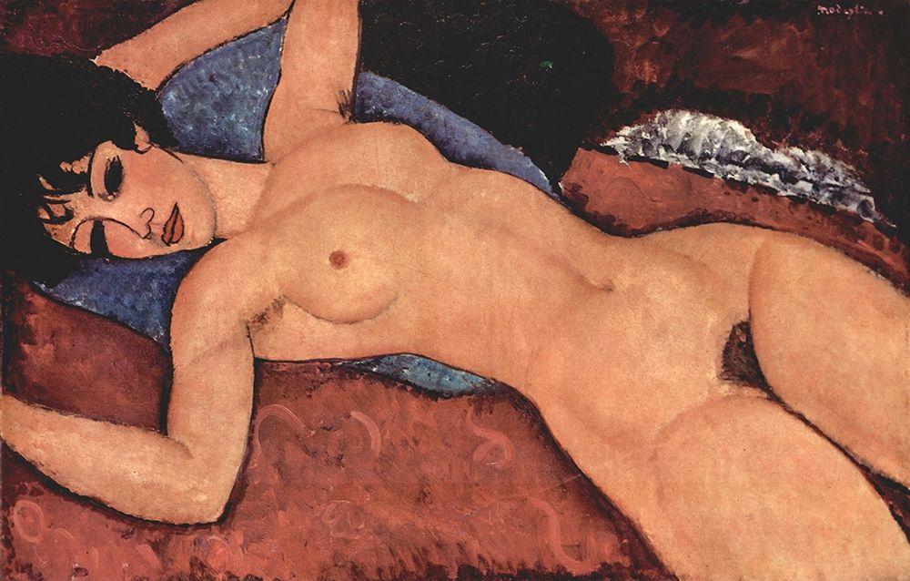 konfigurieren des Kunstdrucks in Wunschgröße Reclining nude dark hair von Modigliani, Amedeo