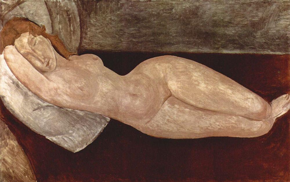 konfigurieren des Kunstdrucks in Wunschgröße Reclining nude frontal view von Modigliani, Amedeo
