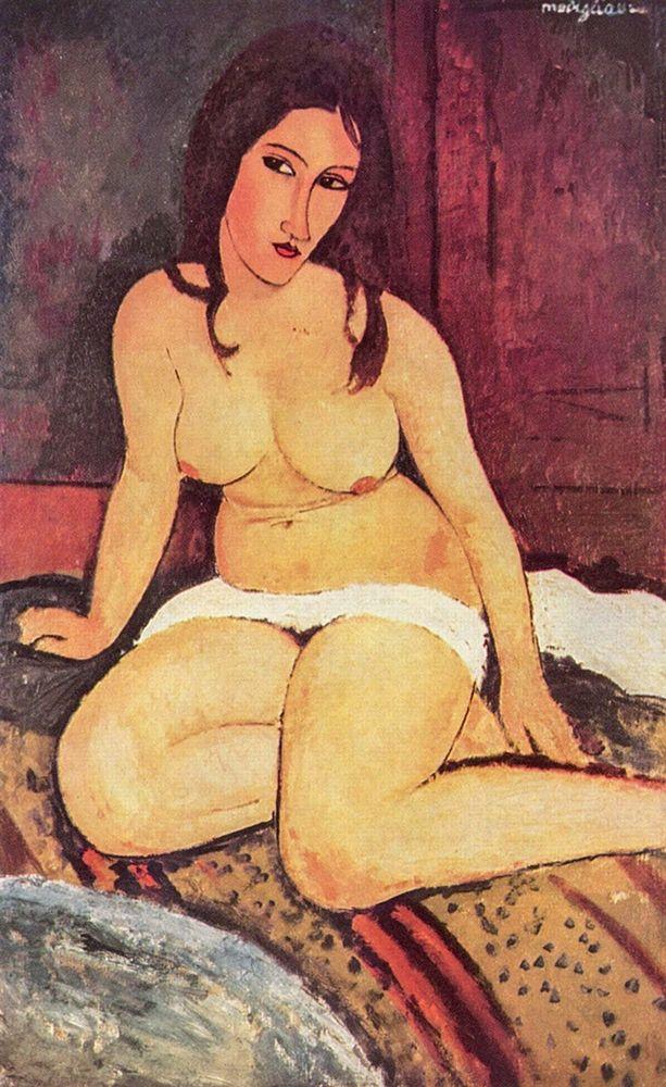 konfigurieren des Kunstdrucks in Wunschgröße Nude seated on floor von Modigliani, Amedeo