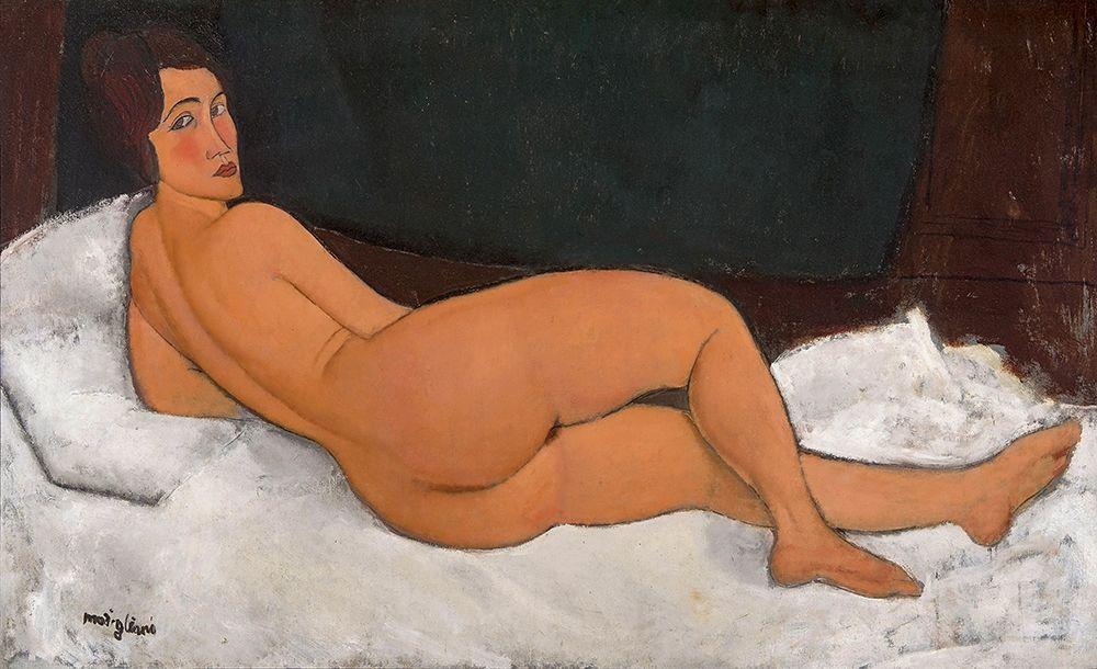konfigurieren des Kunstdrucks in Wunschgröße Reclining Nude looking over right shoulder von Modigliani, Amedeo