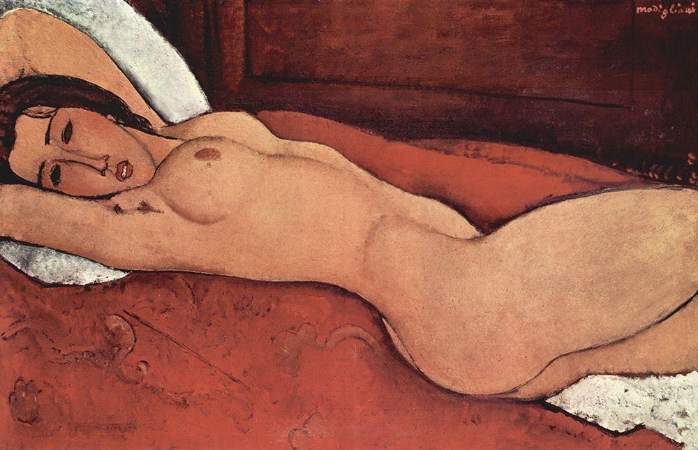 konfigurieren des Kunstdrucks in Wunschgröße Reclining Nude from the Front von Modigliani, Amedeo