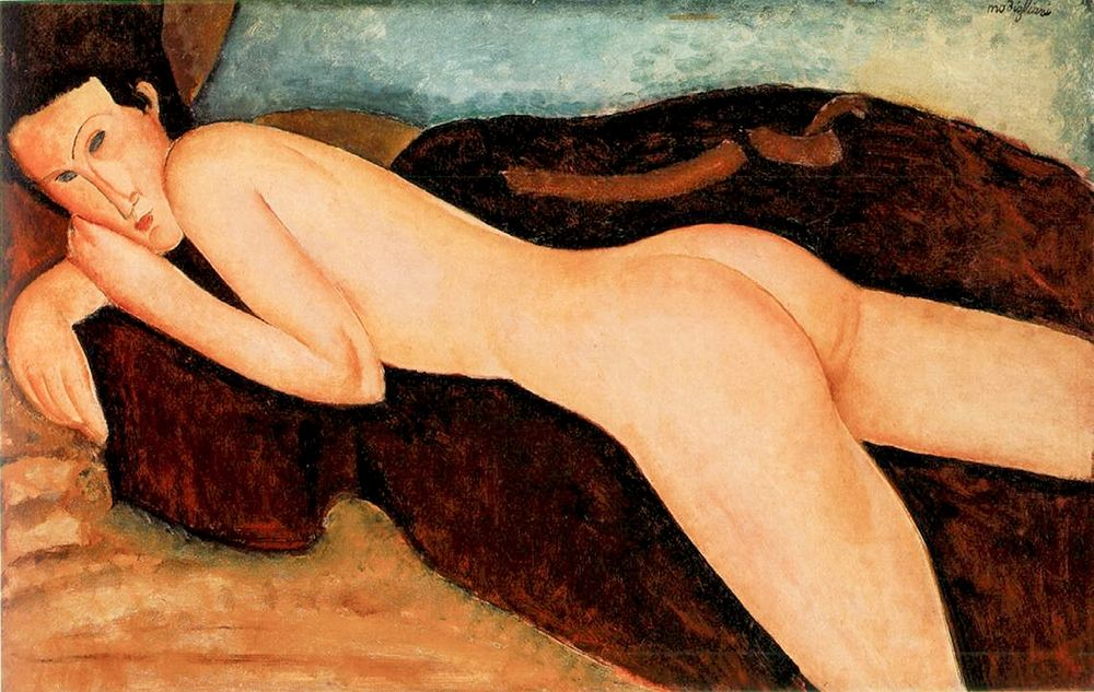 konfigurieren des Kunstdrucks in Wunschgröße Reclining Nude from the Back von Modigliani, Amedeo