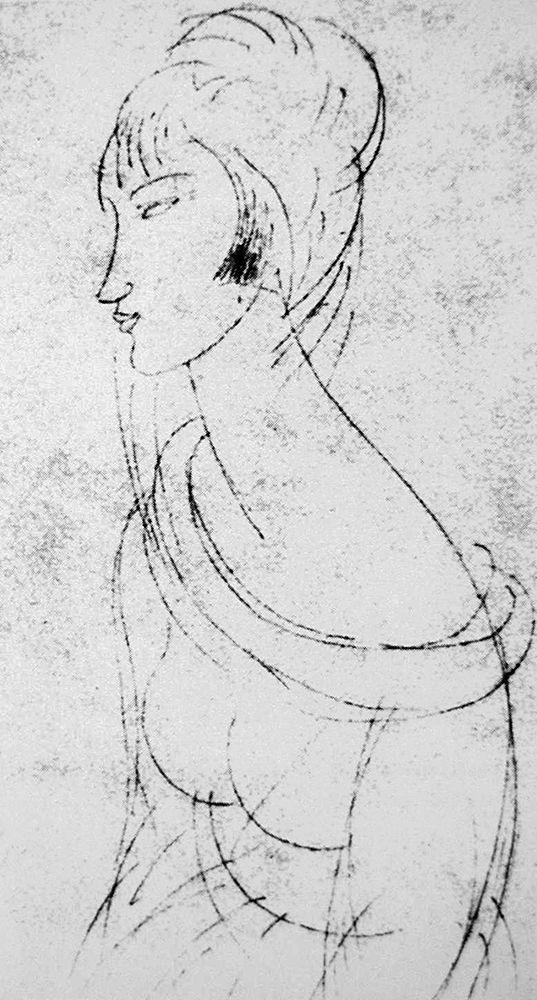 konfigurieren des Kunstdrucks in Wunschgröße Sketch of Jeanne von Modigliani, Amedeo