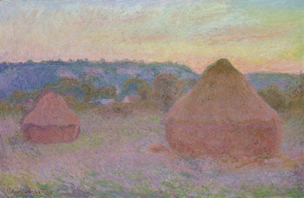 konfigurieren des Kunstdrucks in Wunschgröße Stacks of Wheat (End of Day, Autumn) von Monet, Claude