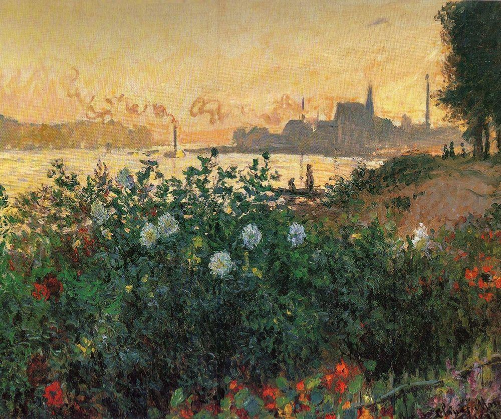 konfigurieren des Kunstdrucks in Wunschgröße Flowered Riverbank, Argenteuil von Monet, Claude