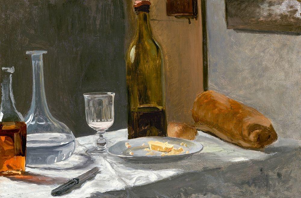 konfigurieren des Kunstdrucks in Wunschgröße Still Life with Bottle, Carafe, Bread, and Wine von Monet, Claude