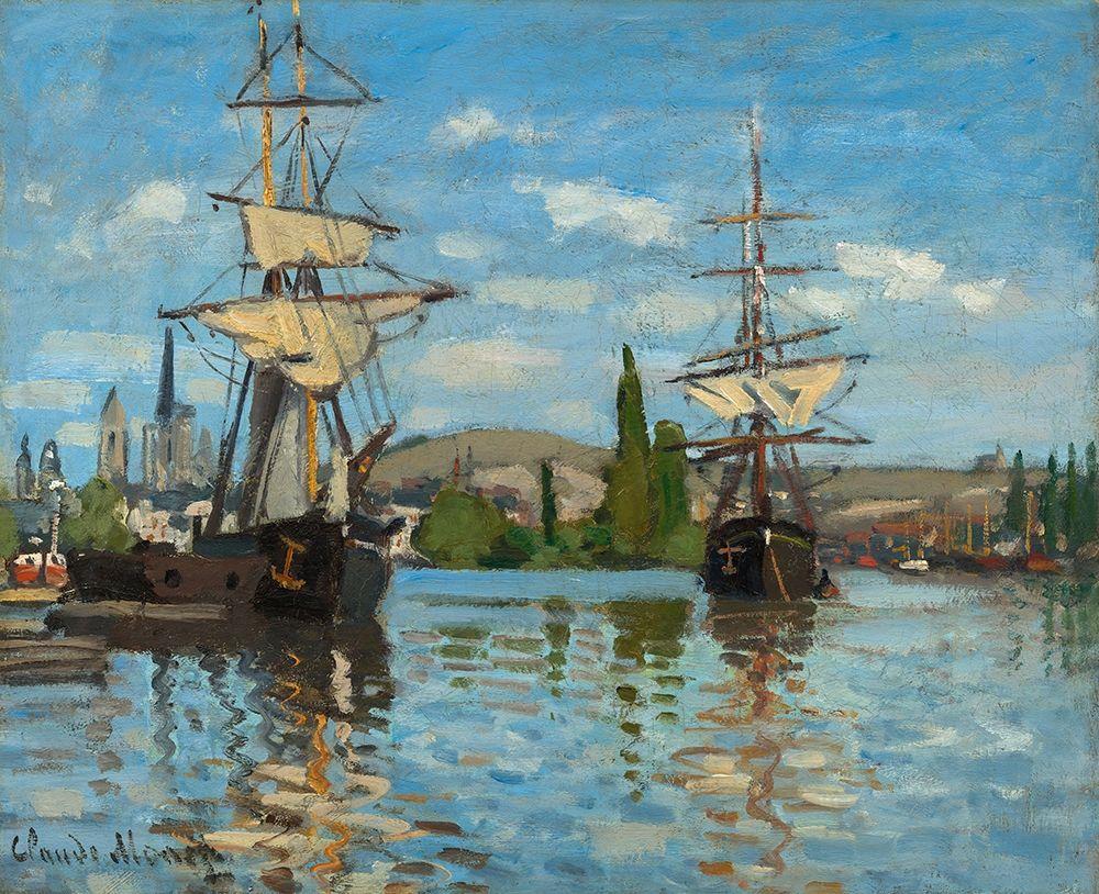konfigurieren des Kunstdrucks in Wunschgröße Ships Riding on the Seine at Rouen von Monet, Claude
