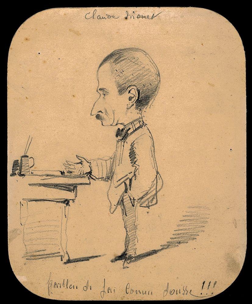konfigurieren des Kunstdrucks in Wunschgröße Caricature of a Man Standing by Desk von Monet, Claude
