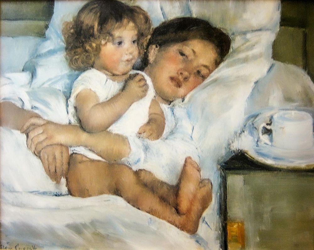 konfigurieren des Kunstdrucks in Wunschgröße Breakfast in Bed von Cassatt, Mary