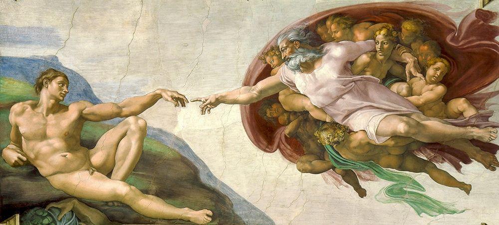 konfigurieren des Kunstdrucks in Wunschgröße The Creation of Adam von Michelangelo