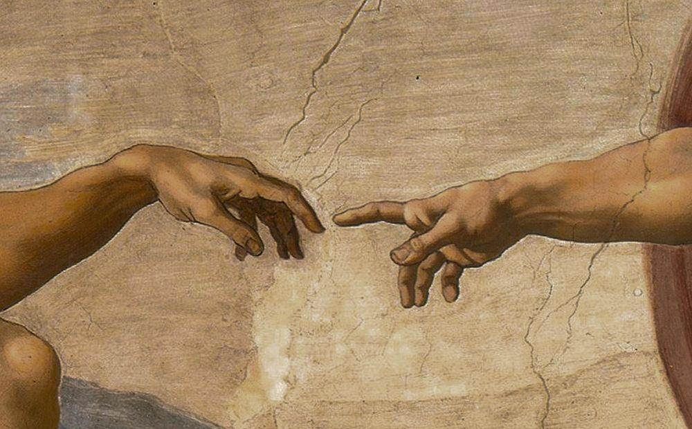 konfigurieren des Kunstdrucks in Wunschgröße The Creation of Adam Detail von Michelangelo