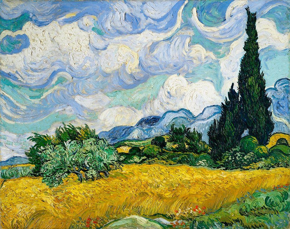konfigurieren des Kunstdrucks in Wunschgröße Wheat Field with Cypresses (1889)┬á von Van Gogh, Vincent
