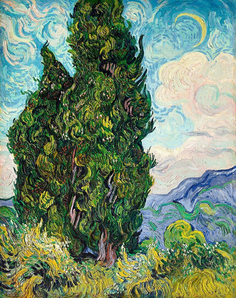 konfigurieren des Kunstdrucks in Wunschgröße Cypresses (1889) von Van Gogh, Vincent