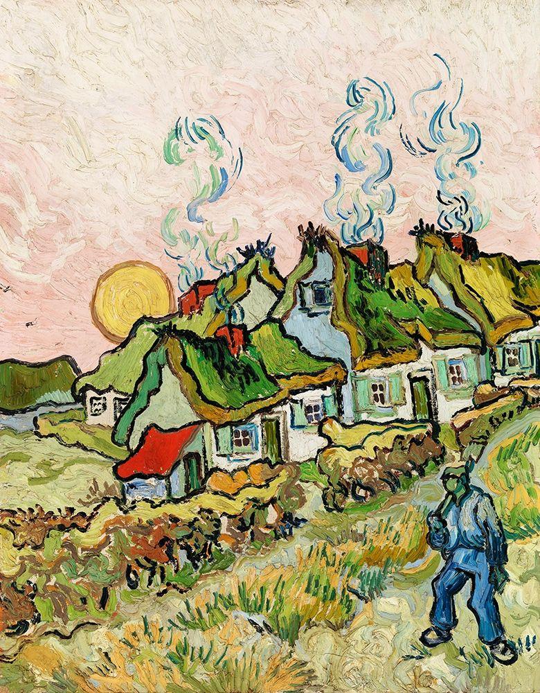 konfigurieren des Kunstdrucks in Wunschgröße Houses and Figure (1890) von Van Gogh, Vincent