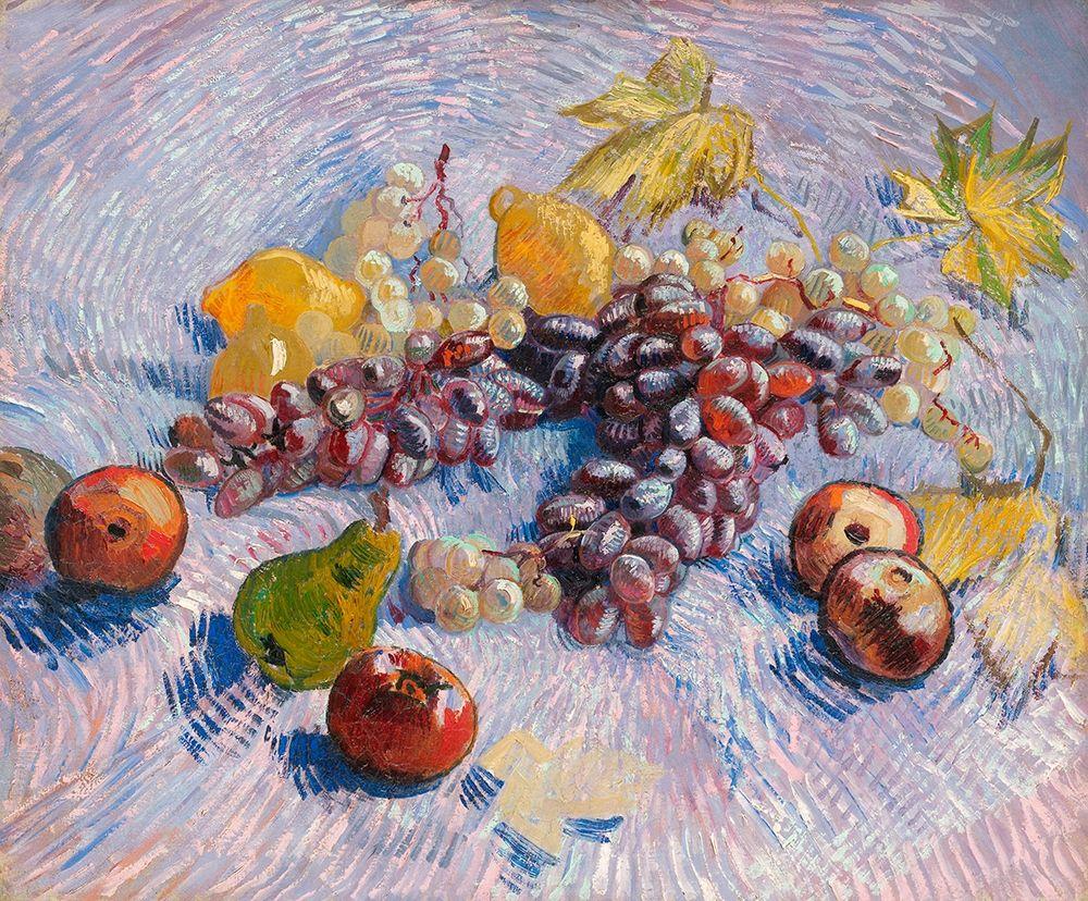 konfigurieren des Kunstdrucks in Wunschgröße Grapes, Lemons, Pears, and Apples (1887) von Van Gogh, Vincent