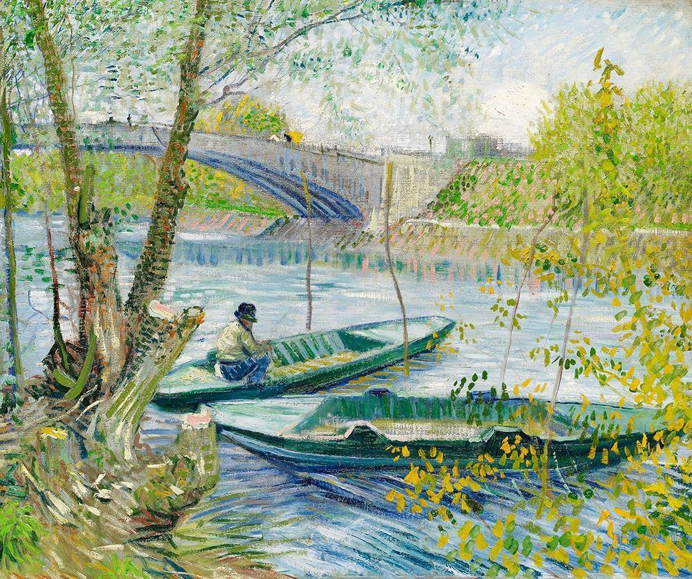 konfigurieren des Kunstdrucks in Wunschgröße Fishing in Spring, the Pont de Clichy (Asni├¿res) (1887) von Van Gogh, Vincent
