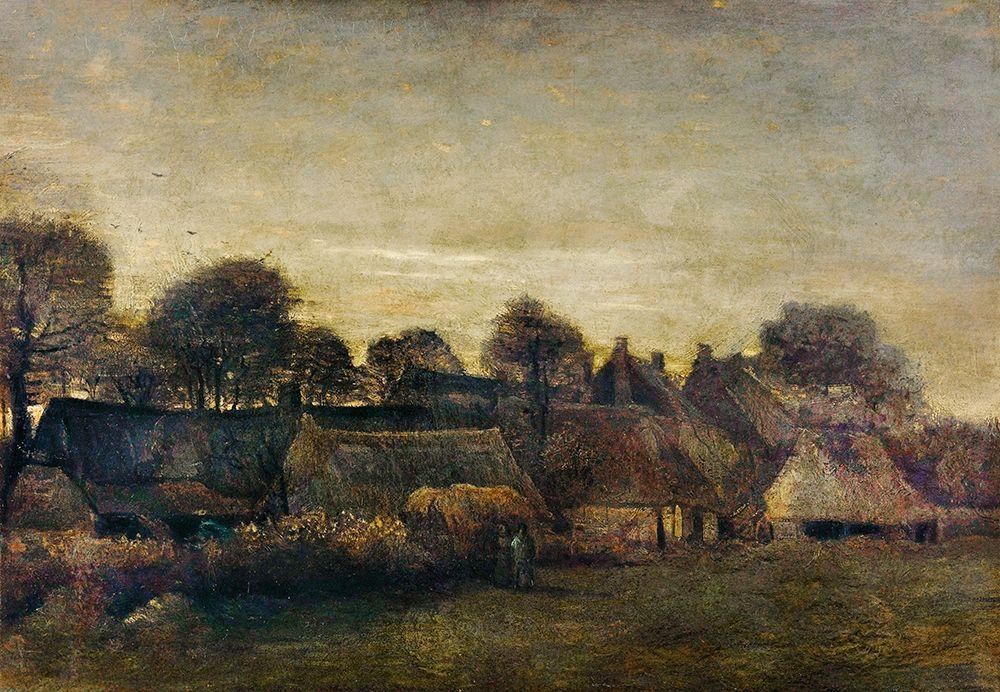 konfigurieren des Kunstdrucks in Wunschgröße Farming Village at Twilight (1884) von Van Gogh, Vincent