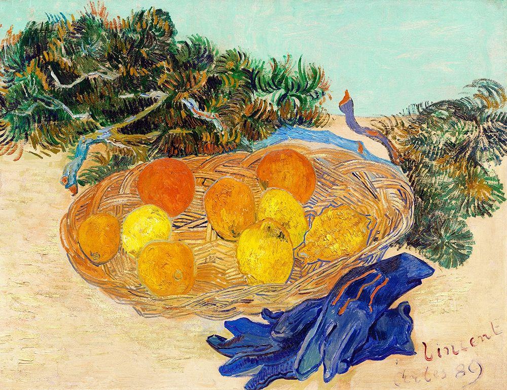 konfigurieren des Kunstdrucks in Wunschgröße Still Life of Oranges and Lemons with Blue Gloves (1889) von Van Gogh, Vincent