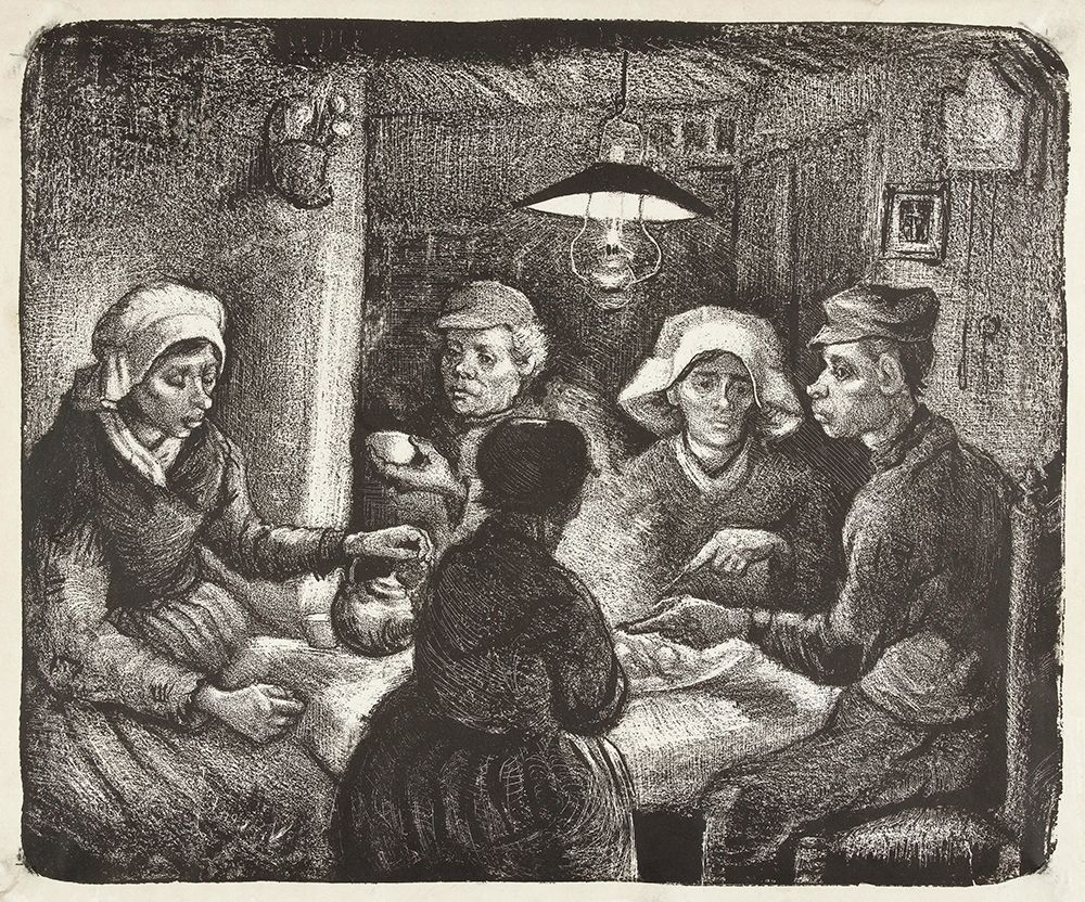 konfigurieren des Kunstdrucks in Wunschgröße Composition lithograph of The Potato Eaters (De aardappeleters, 1885) von Van Gogh, Vincent