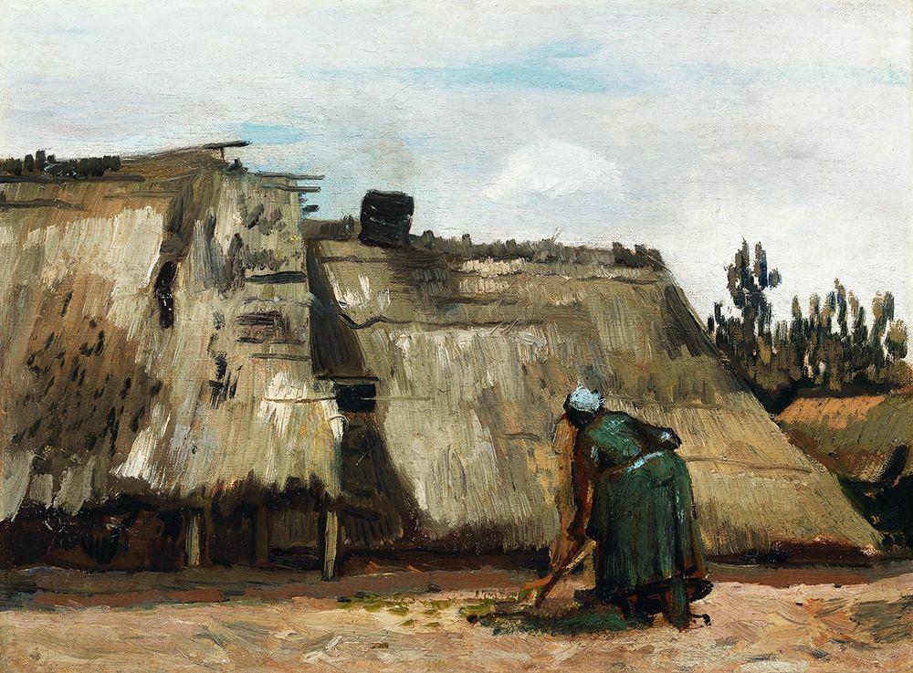 konfigurieren des Kunstdrucks in Wunschgröße A Peasant Woman Digging in Front of Her Cottage (c.1885) von Van Gogh, Vincent