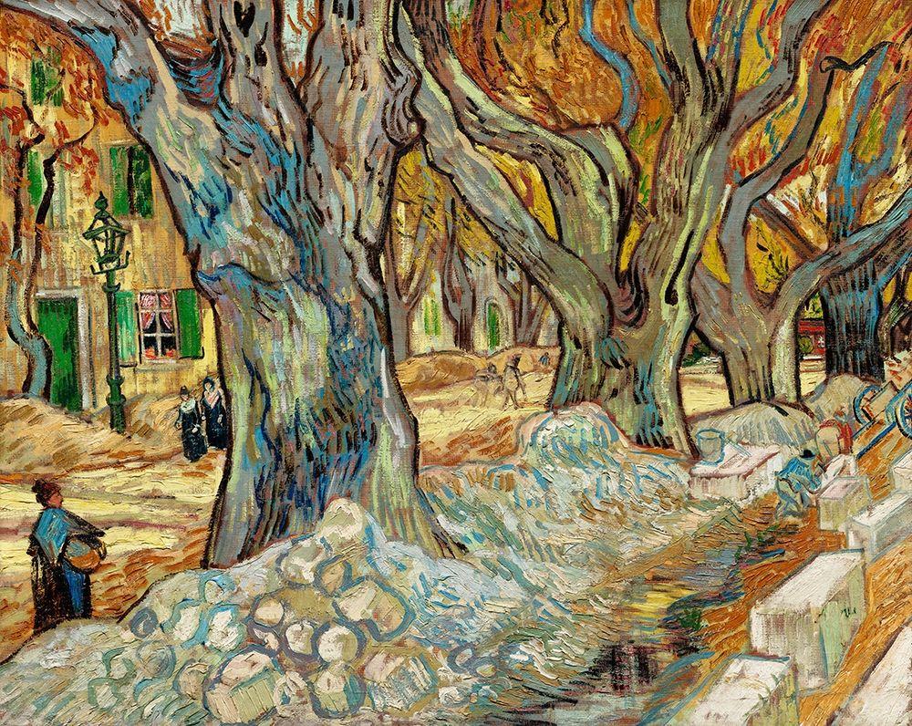 konfigurieren des Kunstdrucks in Wunschgröße The Large Plane Trees (Road Menders at Saint-R├®my) (1889)┬á von Van Gogh, Vincent