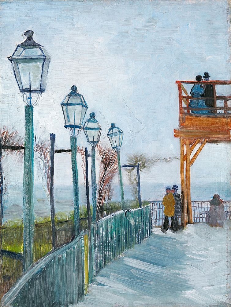 konfigurieren des Kunstdrucks in Wunschgröße Terrace and Observation Deck at the Moulin de Blute-Fin, Montmartre (1887) von Van Gogh, Vincent