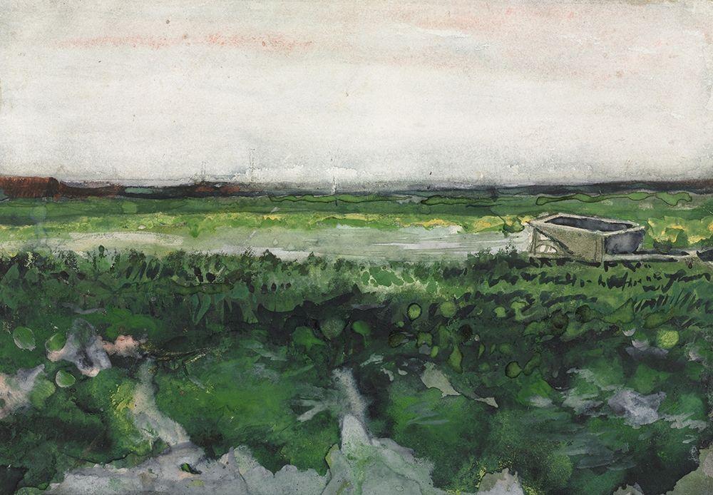 konfigurieren des Kunstdrucks in Wunschgröße Landscape with Wheelbarrow (1883) von Van Gogh, Vincent