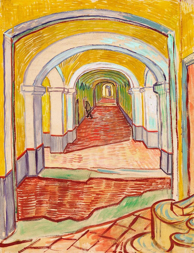 konfigurieren des Kunstdrucks in Wunschgröße Corridor in the Asylum (1889) von Van Gogh, Vincent