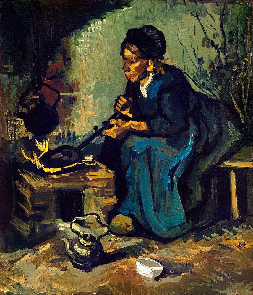 konfigurieren des Kunstdrucks in Wunschgröße Peasant Woman Cooking by a Fireplace (1885) von Van Gogh, Vincent