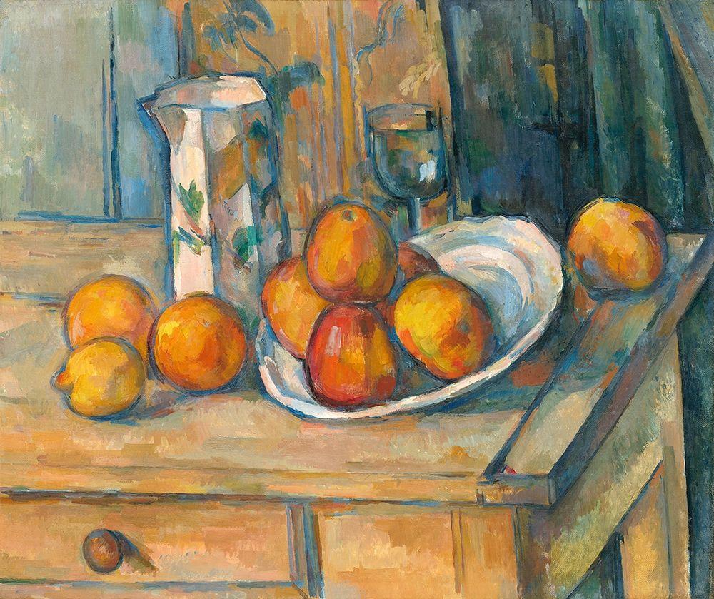 konfigurieren des Kunstdrucks in Wunschgröße Still Life with Milk Jug and Fruit (ca. 1900) von Cezanne, Paul