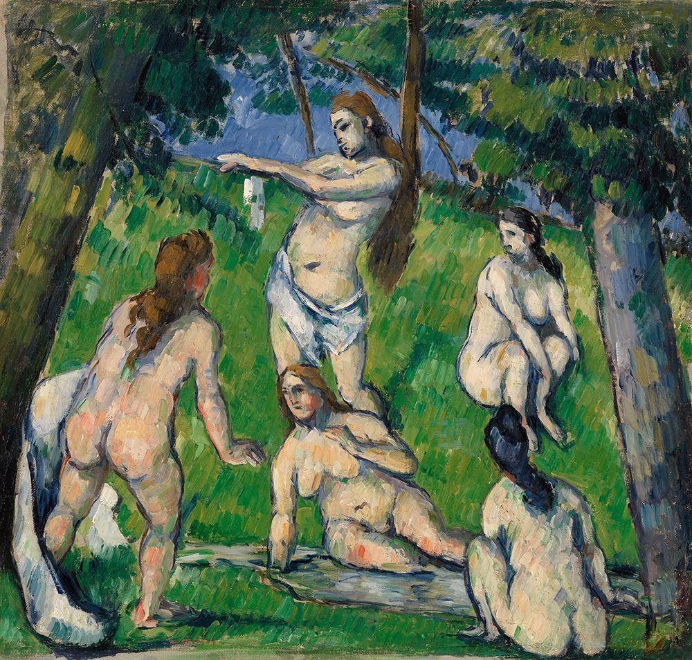 konfigurieren des Kunstdrucks in Wunschgröße Five Bathers (Cinq baigneuses) (ca. 1877-1878) von Cezanne, Paul