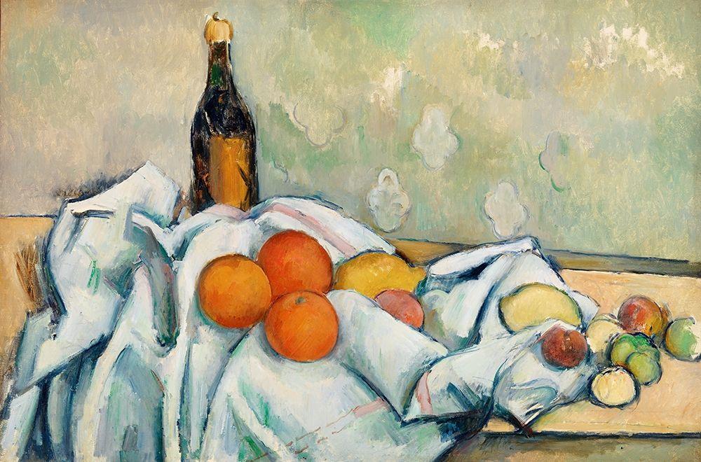 konfigurieren des Kunstdrucks in Wunschgröße Bottle and Fruits von Cezanne, Paul