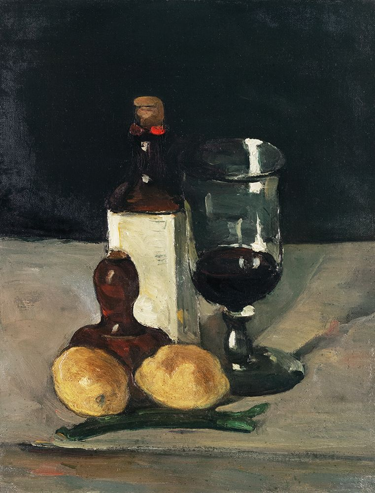 konfigurieren des Kunstdrucks in Wunschgröße Still Life with Bottle, Glass, and Lemons von Cezanne, Paul