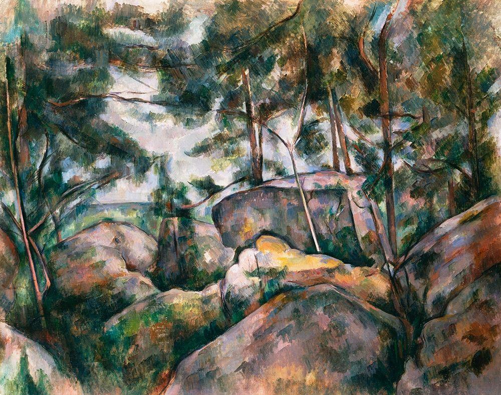 konfigurieren des Kunstdrucks in Wunschgröße Rocks in the Forest von Cezanne, Paul
