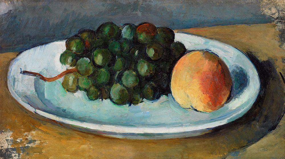 konfigurieren des Kunstdrucks in Wunschgröße Grapes and Peach on a Plate┬á von Cezanne, Paul